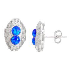 925 sterling silver 3.17cts blue australian opal (lab) topaz stud earrings c2419