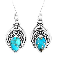 925 sterling silver 5.18cts blue copper turquoise dangle earrings jewelry p39273