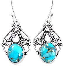 925 sterling silver 8.09cts blue copper turquoise dangle earrings jewelry p41354