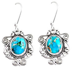 925 sterling silver 8.31cts blue copper turquoise dangle earrings jewelry p41391