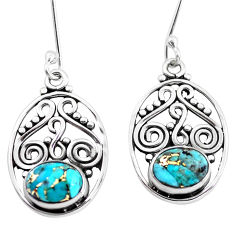 925 sterling silver 4.08cts blue copper turquoise dangle earrings jewelry p41413