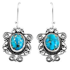 925 sterling silver 7.62cts blue copper turquoise dangle earrings jewelry p41431
