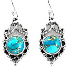 925 sterling silver 5.22cts blue copper turquoise dangle earrings jewelry p52996