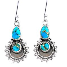 925 sterling silver 5.75cts blue copper turquoise dangle earrings jewelry p58230