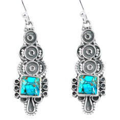 925 sterling silver 4.84cts blue copper turquoise dangle earrings jewelry p60011