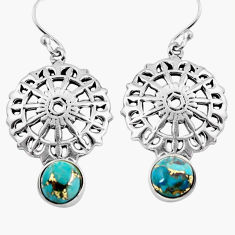 925 sterling silver 5.23cts blue copper turquoise dangle earrings jewelry p84896