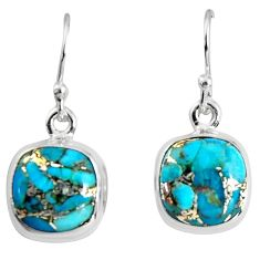 925 sterling silver 9.83cts blue copper turquoise dangle earrings jewelry p89369