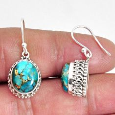 925 sterling silver 9.39cts blue copper turquoise dangle earrings jewelry p89810