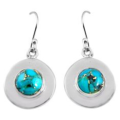 925 sterling silver 5.21cts blue copper turquoise dangle earrings jewelry p91475