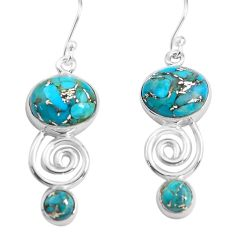 925 sterling silver 12.36cts blue copper turquoise dangle earrings p85591