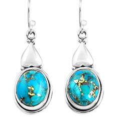 925 sterling silver 11.21cts blue copper turquoise dangle earrings p85630