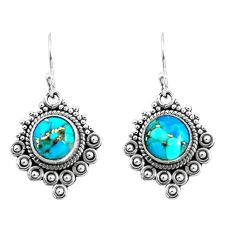925 sterling silver 6.36cts blue copper turquoise earrings jewelry p52783