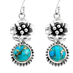 925 sterling silver 7.40cts blue copper turquoise flower earrings jewelry p60799