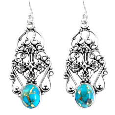 925 sterling silver 6.02cts blue copper turquoise holy cross earrings p51929