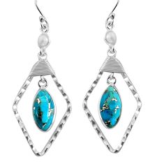 925 sterling silver 11.07cts blue copper turquoise pearl dangle earrings p90018