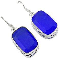 925 sterling silver blue jade octagon shape dangle earrings jewelry j3453