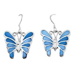 925 sterling silver 7.26gms blue pearl enamel butterfly earrings jewelry c2565