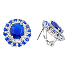 925 sterling silver 18.86cts blue sapphire (lab) topaz stud earrings c1917