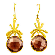 925 sterling silver 19.68cts brown smoky topaz 14k gold dangle earrings p50099