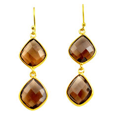925 sterling silver 18.39cts brown smoky topaz 14k gold dangle earrings p75833