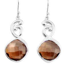 925 sterling silver 15.34cts brown smoky topaz dangle earrings jewelry p43656