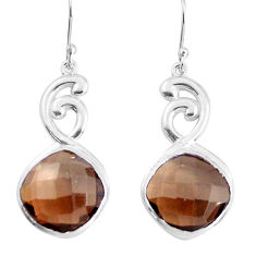 925 sterling silver 14.74cts brown smoky topaz dangle earrings jewelry p43720