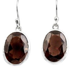 925 sterling silver 12.60cts brown smoky topaz dangle earrings jewelry p84078