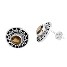 925 sterling silver 2.93cts brown smoky topaz stud earrings jewelry d31580