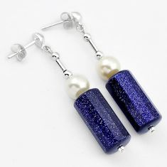 925 STERLING SILVER DANGLE EARRINGS JEWELRY NATURAL BLUE GOLDSTONE PEARL H40165