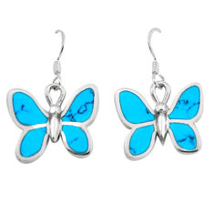 925 sterling silver 5.69gms fine blue turquoise enamel butterfly earrings c2544
