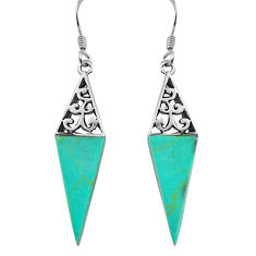 925 sterling silver 7.56cts fine green turquoise dangle earrings jewelry c4542