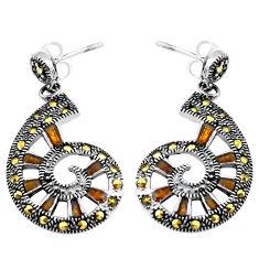 925 sterling silver 5.48gms fine marcasite enamel earrings jewelry c4613