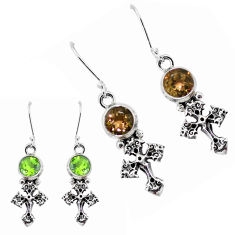 925 sterling silver 0.70cts green alexandrite (lab) holy cross earrings p43148