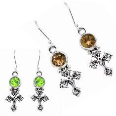 925 sterling silver 5.53cts green alexandrite (lab) holy cross earrings p43179