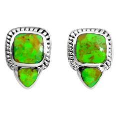 925 sterling silver 8.03cts green copper turquoise stud earrings jewelry c2844