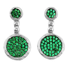 925 sterling silver 3.42cts green emerald (lab) topaz dangle earrings c2704