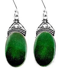 925 sterling silver 17.57cts green jade oval dangle earrings jewelry p91927