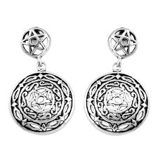 925 sterling silver 6.26gms indonesian bali style solid dangle earrings c5324