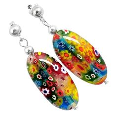 925 sterling silver italian murano flower glass dangle earrings jewelry h54158
