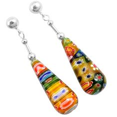 925 sterling silver italian murano flower glass dangle earrings jewelry h54159