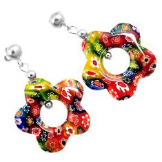 925 sterling silver italian murano flower glass flower dangle earrings h54153