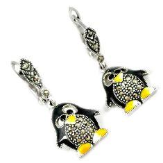 925 sterling silver multi color enamel marcasite penguin dangle earrings h48983