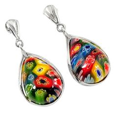 925 sterling silver multi color italian murano glass dangle earrings h54968