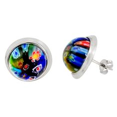 925 sterling silver 12.06cts multi color italian murano glass earrings c5589