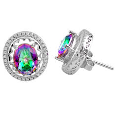 925 sterling silver 7.63cts multi color rainbow topaz topaz stud earrings c4534