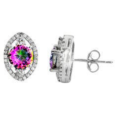 925 sterling silver 7.00cts multi color rainbow topaz topaz stud earrings c5192