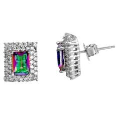 925 sterling silver 4.85cts multi color rainbow topaz topaz stud earrings c5213
