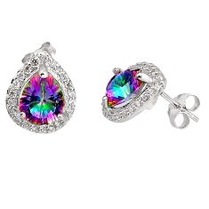 925 sterling silver 7.01cts multi color rainbow topaz topaz stud earrings c5564