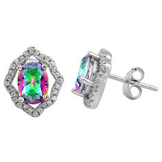 925 sterling silver 7.13cts multi color rainbow topaz white topaz earrings c4574