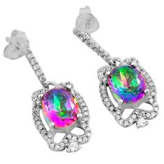 925 sterling silver 8.80cts multi color rainbow topaz white topaz earrings c4605
